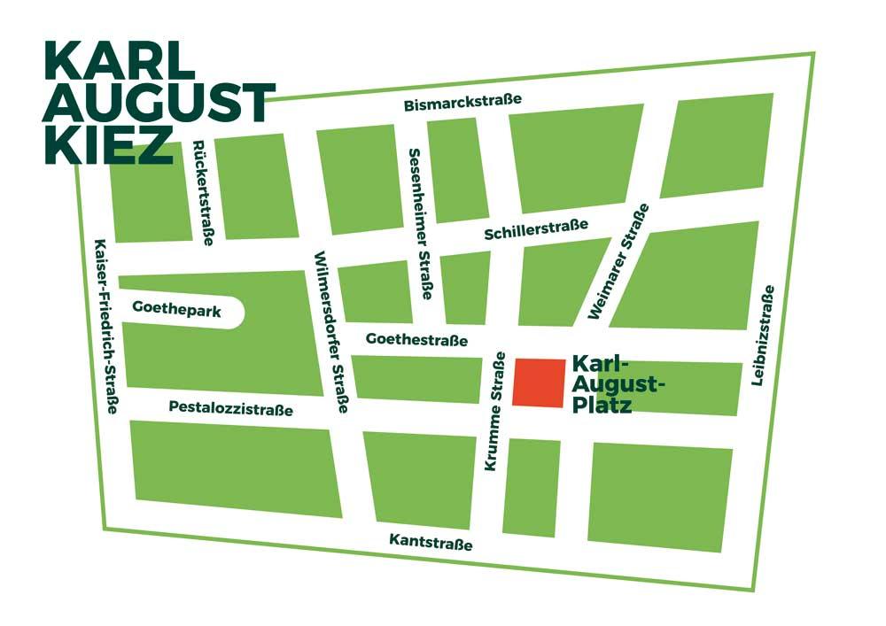 Karte des Karl-August-Kiez, Charlottenburg, Berlin.